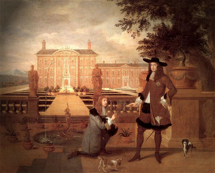 King Charles II receiving gift of a Pineapple from the Royal Gardener, John Rose. Painting (1675) attributed to Hendrick Danckerts.