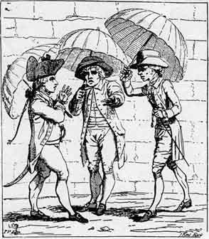 A Meeting of Umbrellas, by James Gilray, 1782